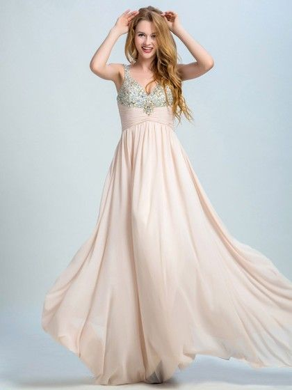 Popular V-neck Chiffon Crystal Detailing Floor-length Prom Dresses - dressesofgirl.com