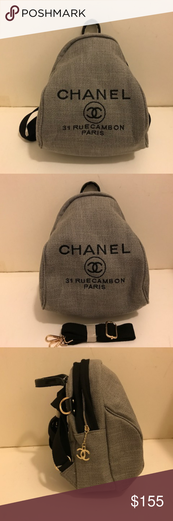 e3525b4a7f4b1d Chanel VIP gift Bag Cross Body Bag Backpack Gray 100 % Authentic Chanel VIP  gift Canvas
