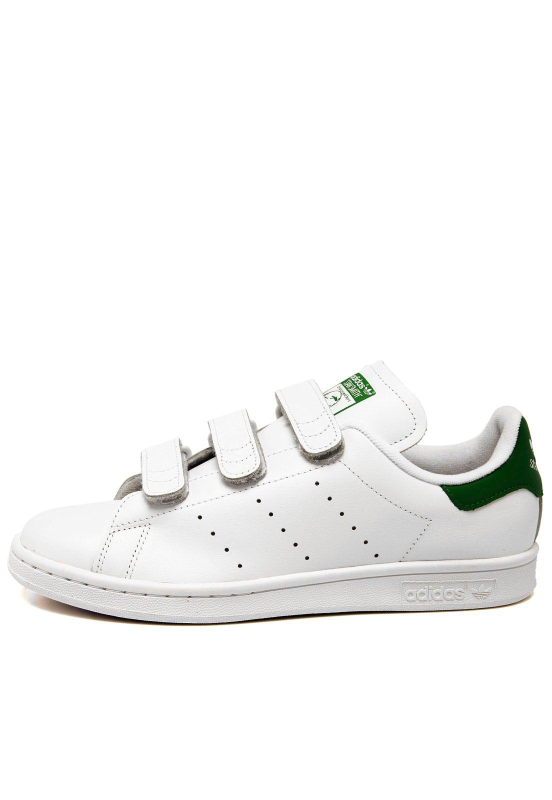 04bbc013fc5 Tênis Couro adidas Originals Stan Smith CF Branco Verde