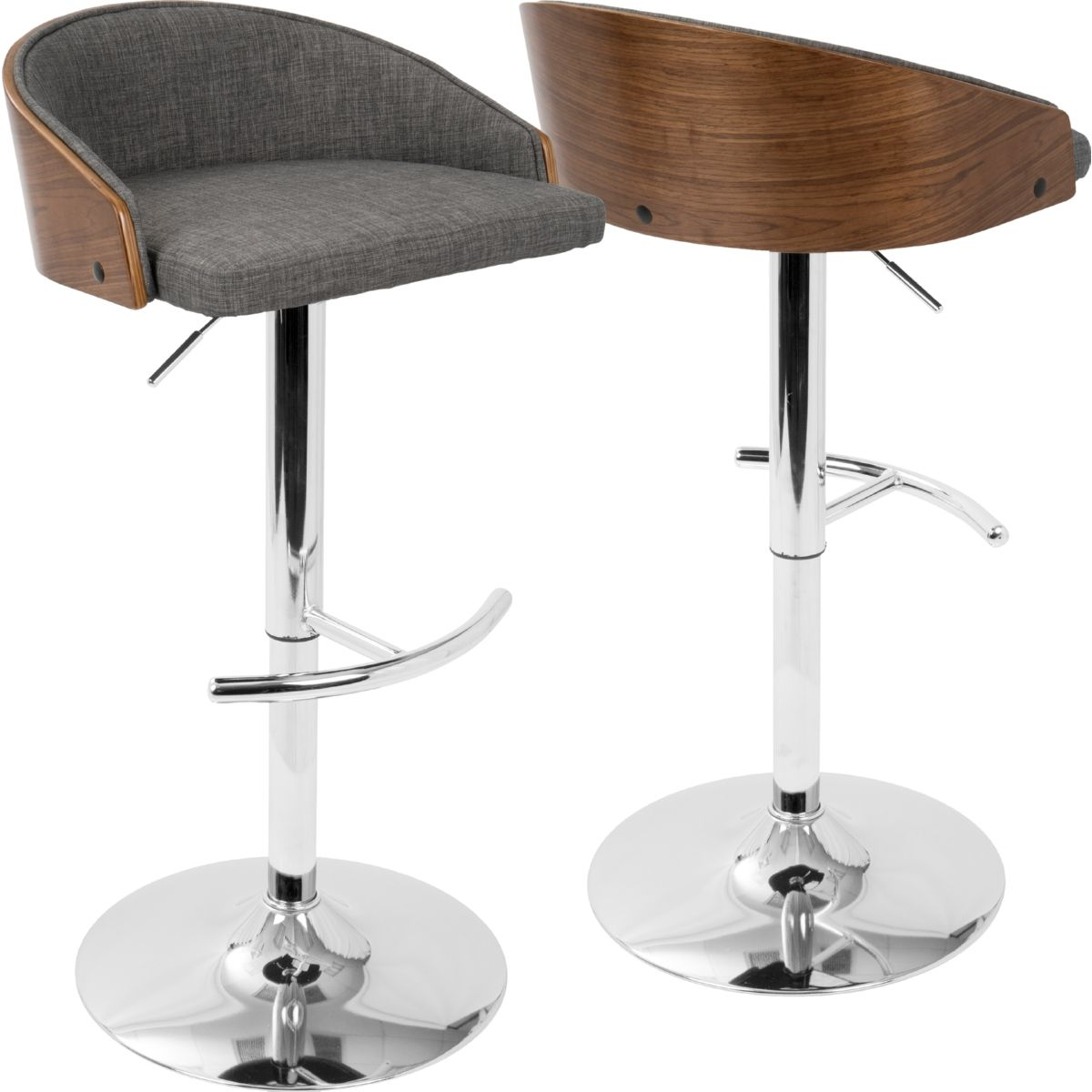 Outstanding Shiraz Mid Century Modern Adjustable Bar Stool In Walnut Caraccident5 Cool Chair Designs And Ideas Caraccident5Info