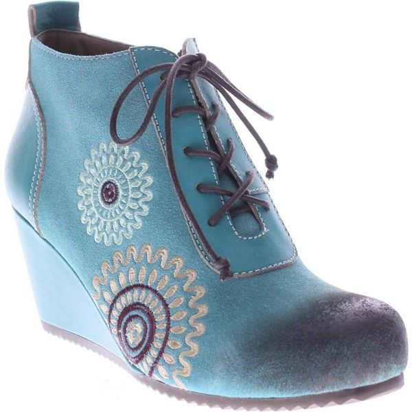 Spring Step Women's Westminster Aqua Leather Suede Boots ($160) ❤ liked on  Polyvore featuring