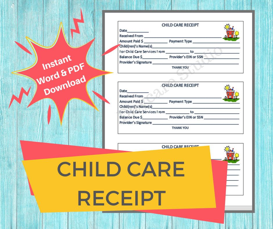 Daycare Receipt Printable Payment Receipt For Child Care Etsy Child Care Services Starting A Daycare Childcare