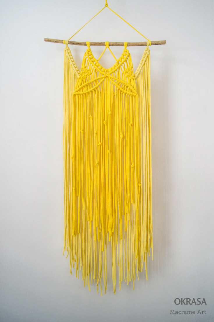 Yellow Macrame wall hanging, Colorful macrame, Colorful wall hanging ...