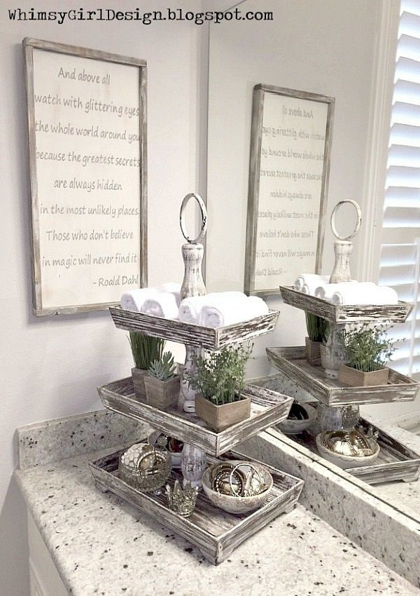 Great Home Decor Idea Of A Stylish Way To Add Storage Space To A Bathroom Vanity This Three Tiered Stand Hold Bathroom Decor New Home Designs Creative Storage