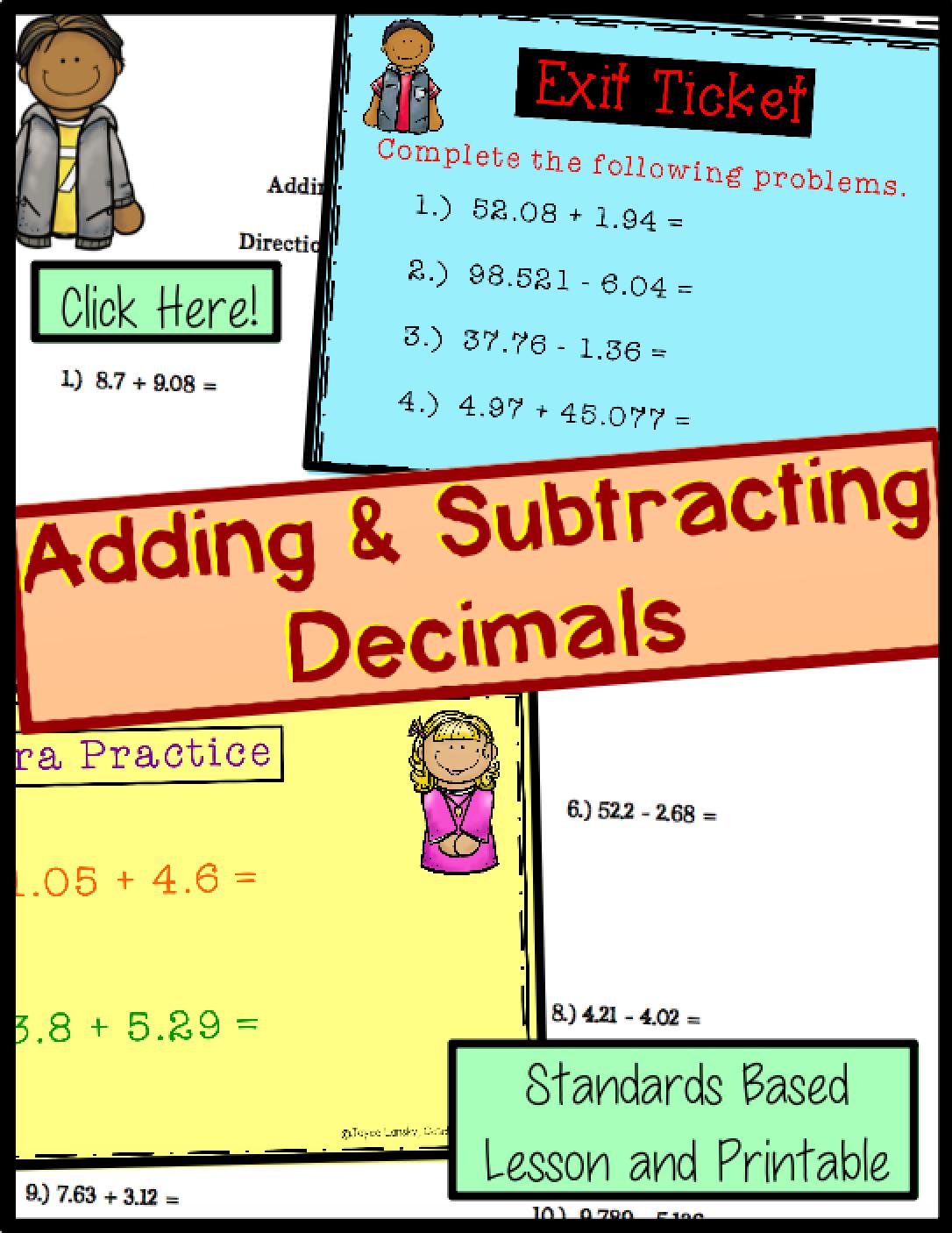 Adding Amp Subtracting Decimals For Promethean Board