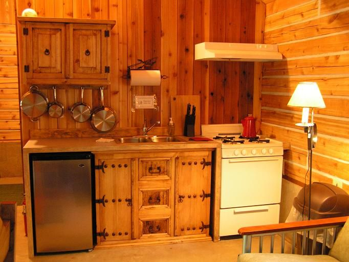 Tiny cabin kitchen kitchen maximizes the available for Kitchen ideas for log homes