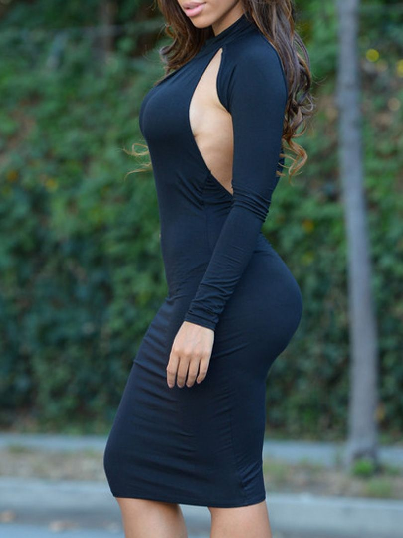 Black halter ruched backless long sleeve bodycon dress choies