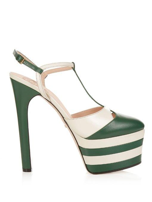 b4cde1353 Gucci Angel leather striped platform sandals White Platform Shoes, White  Shoes, Sandals Platform,