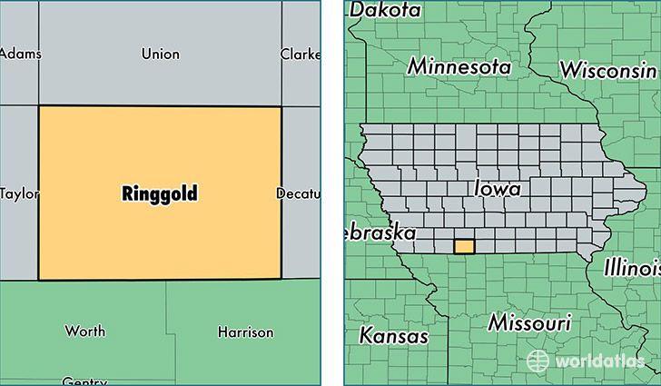 Location Of Ringgold County On A Map Iowa Missouri Kansas