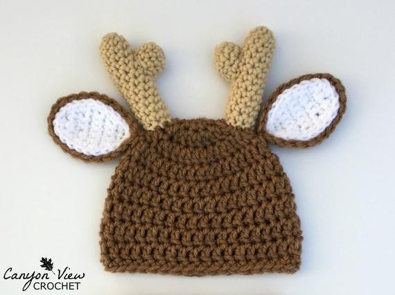 Deer Hat Crochet Photo Prop Buck Doe Fawn Beanie Deer Halloween Costume  Preemie Newborn Infant Baby c1ba270c730d