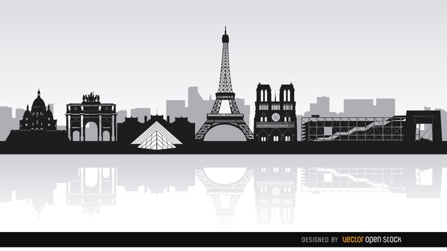Fantastic Background Showing The Skyline Of Paris With Some Of The Most Popular Landmarks In This Great City Basilica Skyline Paris Illustration Paris Skyline