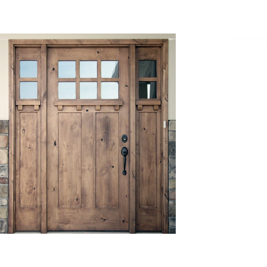 Krosswood Knotty Alder 6 Lite 2 Panel Craftsman Door W/Dentil Shelf And  Beveled Glass. Door + 2 KW 552DS Sidelites