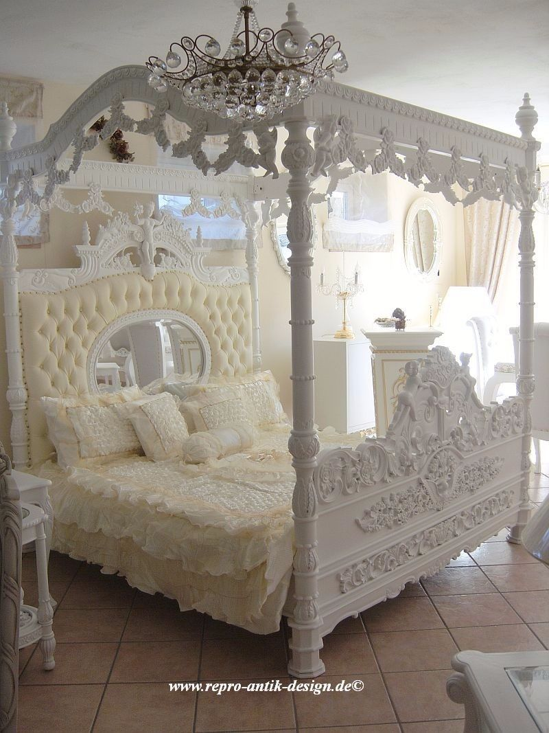 himmelbett barock bett wei engel prunkbett mahagoni massivholz barockbett gold ebay. Black Bedroom Furniture Sets. Home Design Ideas