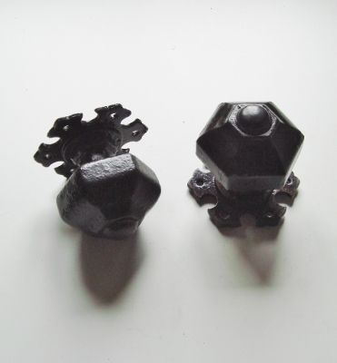 Original Reclaimed Pair Of Victorian Gothic Cast Iron Door Knobs. Hexagonal  In Shape And Dating