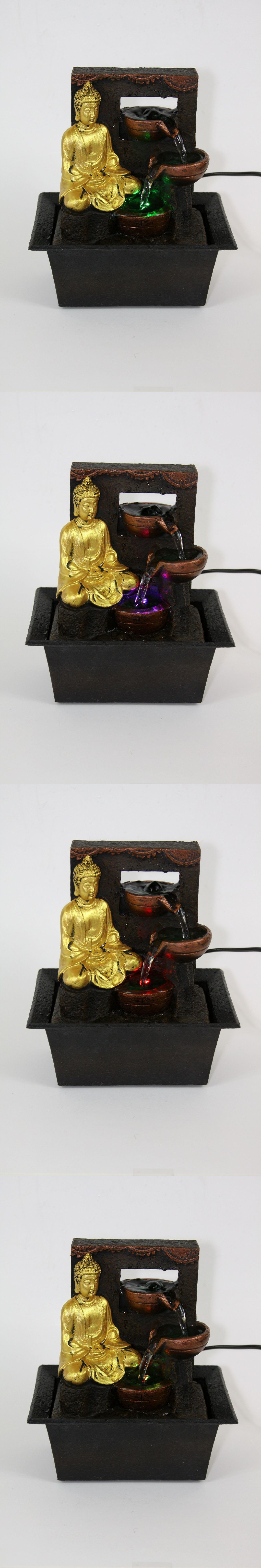 Buddha Indoor Tabletop Water Fountain w//Color Changing LED Light