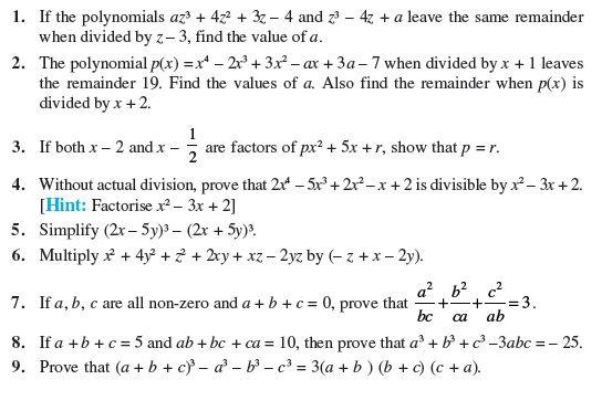 Class 9 Important Questions for Maths - Polynomials | Math ...