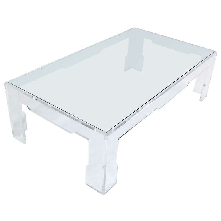 High Quality Long Mid Century Modern Rectangle Lucite Coffee Table | From A Unique  Collection Of Antique