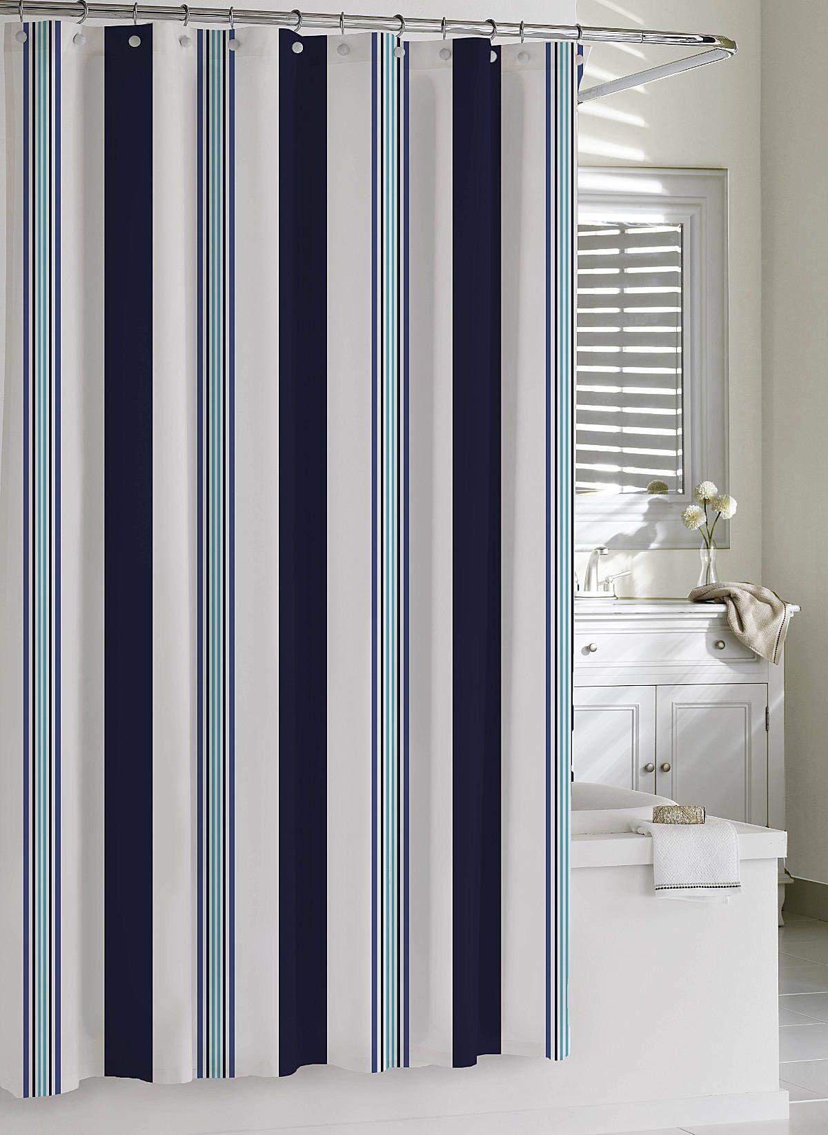 Luxury Shower Curtains | Cabana Stripe Shower Curtain by Kassatex ...