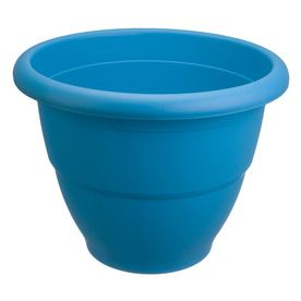 Lovely Garden Treasures X Blue Plastic Round Planter