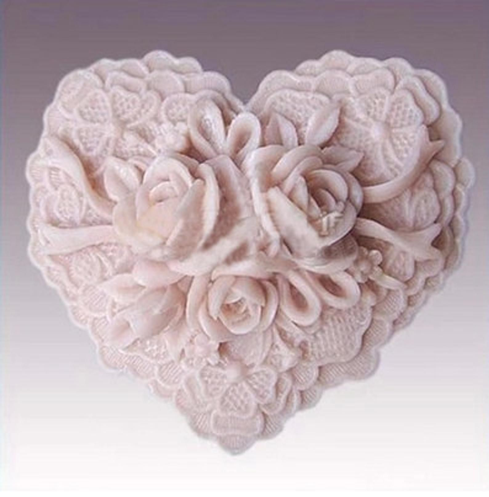 Heart Rose Floral Soap Mold Flexible Silicone Mold Candy