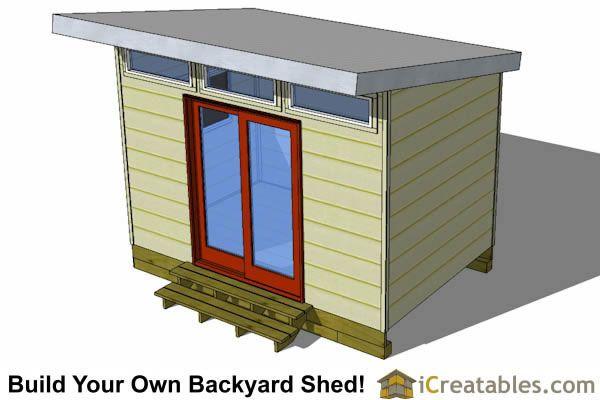 8x12 Modern Studio Shed Plan Top View