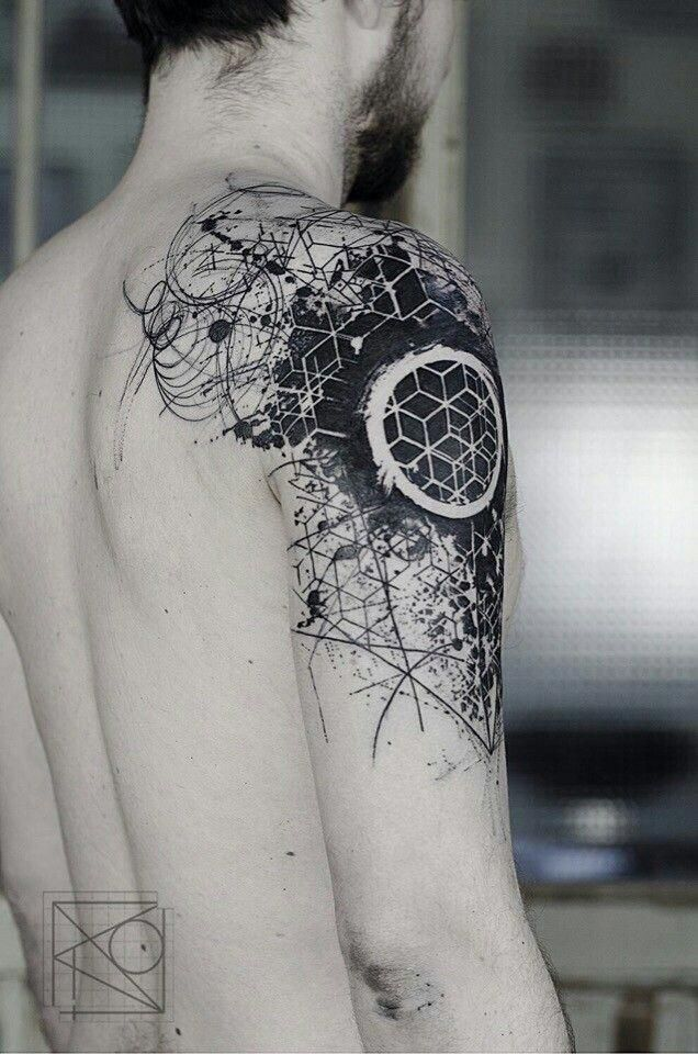Really Like How This Bleeds Over The Shoulder In 2020 Geometric Tattoo Geometric Tattoo Design Geometric Sleeve Tattoo