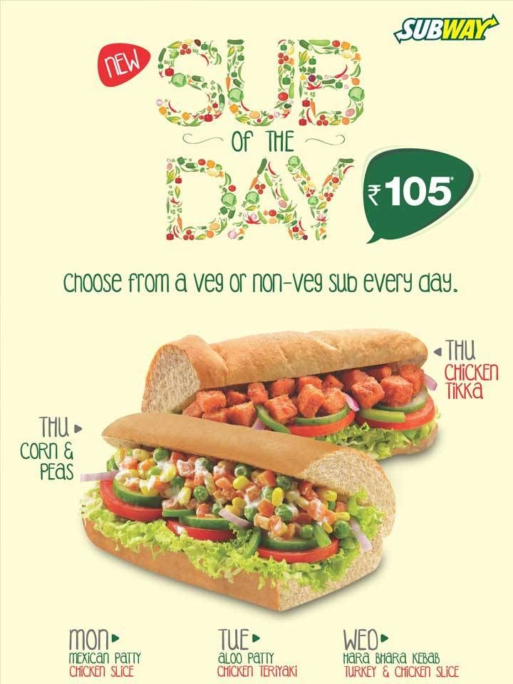 Subway India Is Now Offering Both Veg And Non Vegetarian Subs For