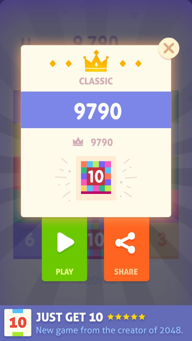 #JustGet10# I scored 9790 in Classic mode! Who can defeat me? ( New game from the creator of 2048!  Only 1% people can win this game! Play for free! http://veewo.com/games/get10/ )