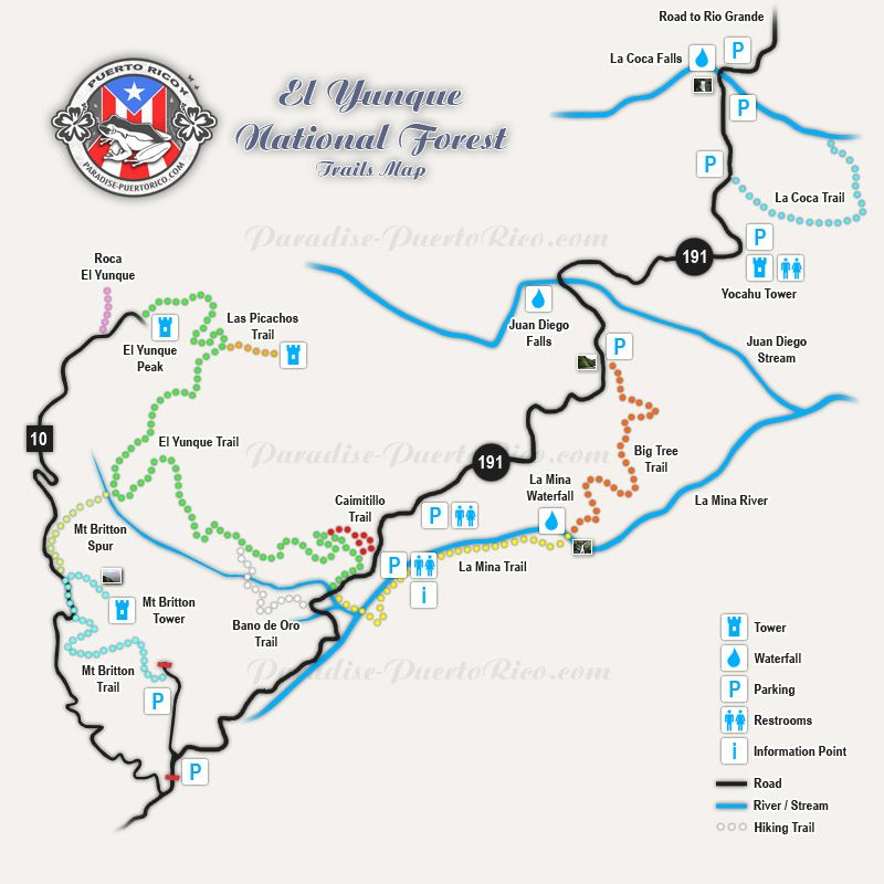 El Yunque Map El Yunque Rain Forest Trail Map | Dream Travel | Trail maps