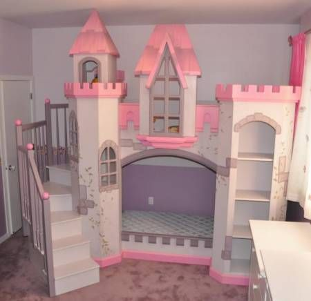 Camas literas para ni as con forma de castillo a medida - Medidas camas infantiles ...