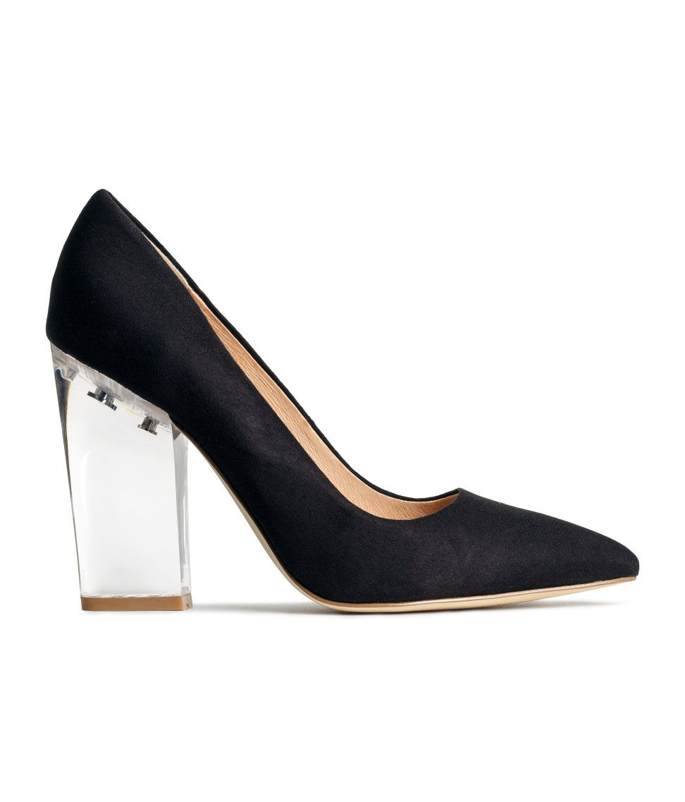 65287ef61af These black faux suede pumps with transparent heels are a clear choice for  a night out on the town.