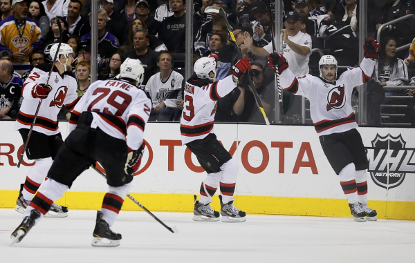 New Jersey Devils Adam Henrique (R) celebrates scoring against the Los  Angeles Kings with teammates Alexei Ponikarovsky (L) 072cd6c12