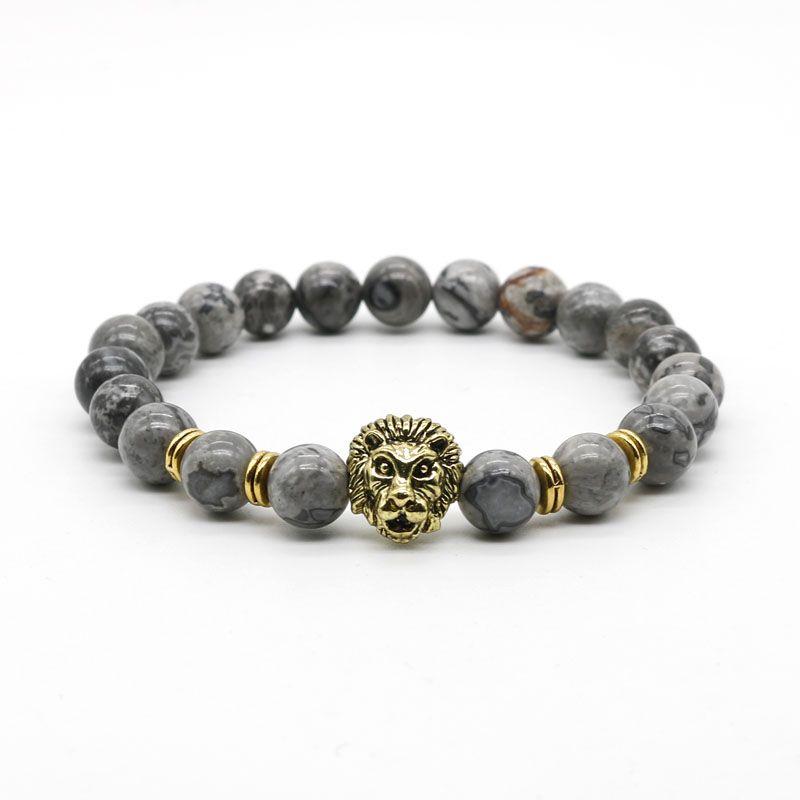 Antique gold-leo lion head pulsera de los hombres de color negro lava cuentas de piedra pulseras del encanto joyería masculino plusera m4-3