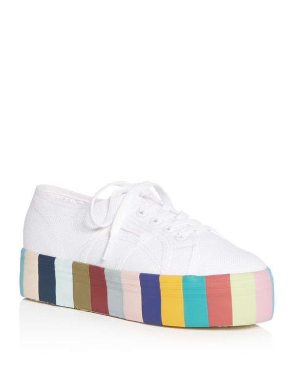 Lace Up Rainbow Platform Sneakers