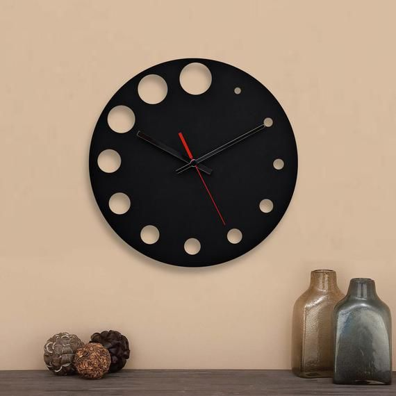 Moku Point Black Round Silent Wooden Wall Clock Contemporary Wall Clock Wood Modern Clocks For Modern Clock Clock Wall Decor Rustic Wall Clocks