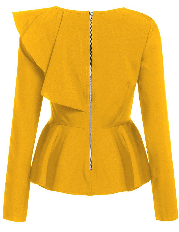 ff2834f56cbe2 Meaneor Womens Ruffles Peplum Long Sleeve Dressy Blouse Tops