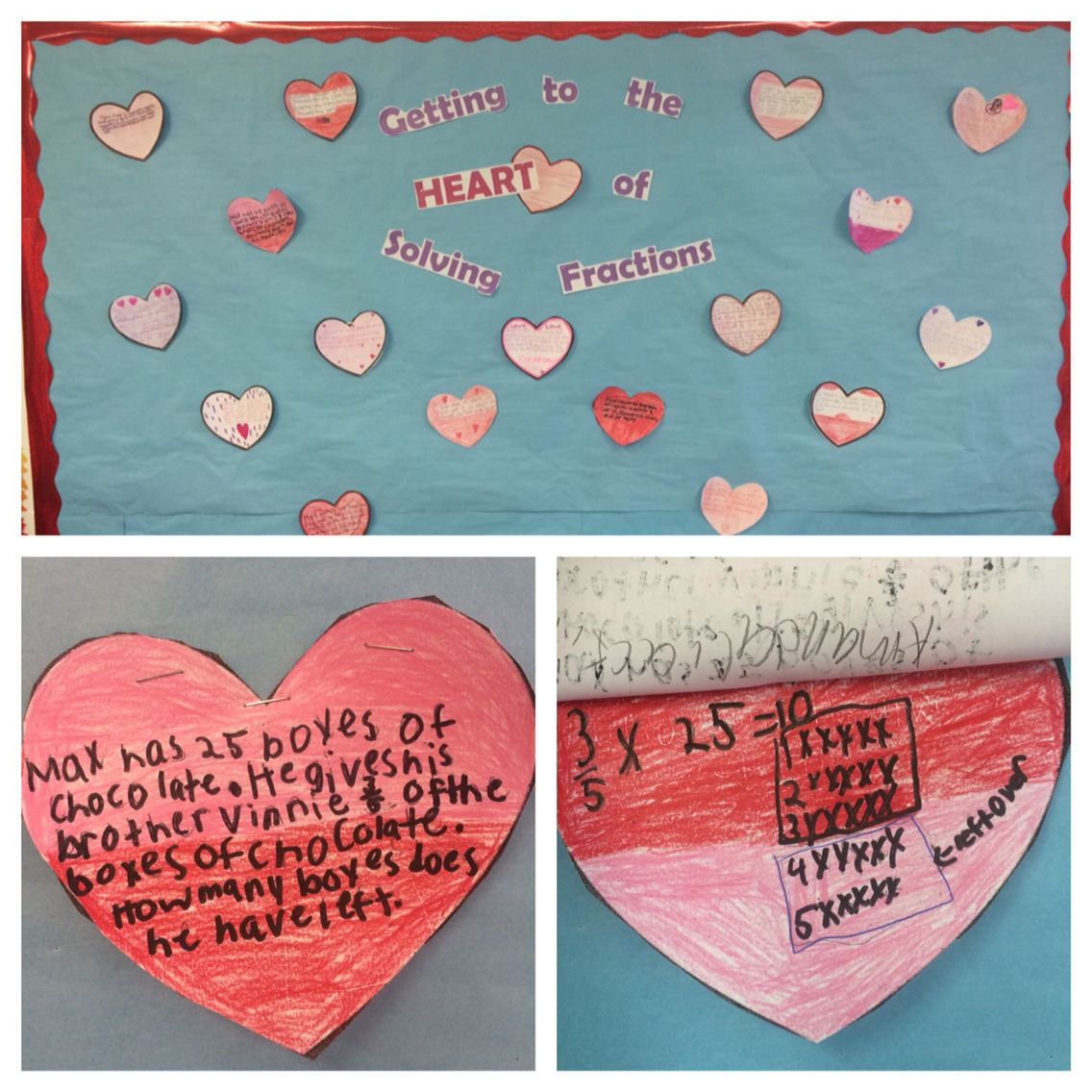 Fractions Math Word Problems February Bulletin Board