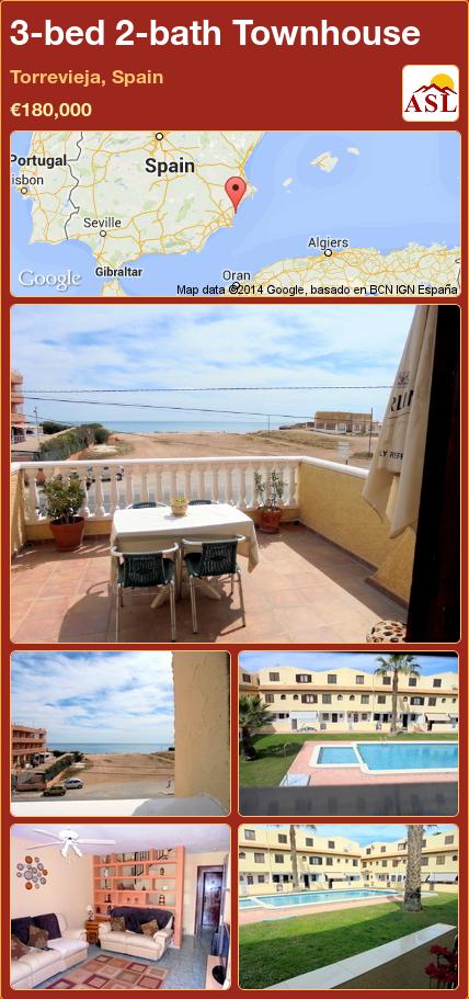 3-bed 2-bath Townhouse in Torrevieja, Spain ►€180,000 #PropertyForSaleInSpain