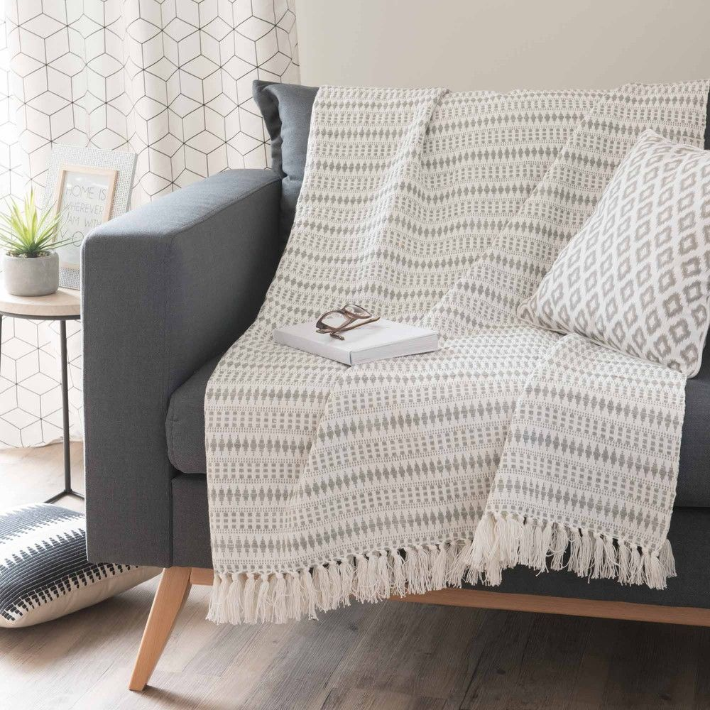 Cotton Throw Grey 160 X 210 Cm Maisons Du Monde Jete De Canape Tapis Salon Plaid Maison Du Monde