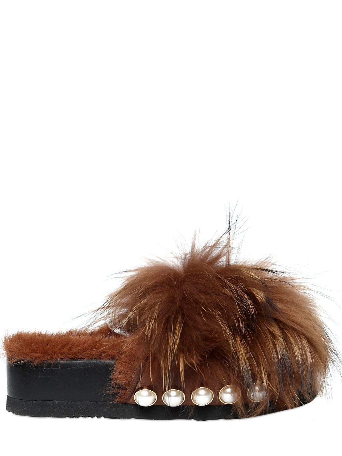 SUECOMMA BONNIE 50MM FUR PLATFORM SLIDE SANDALS W/ STUDS
