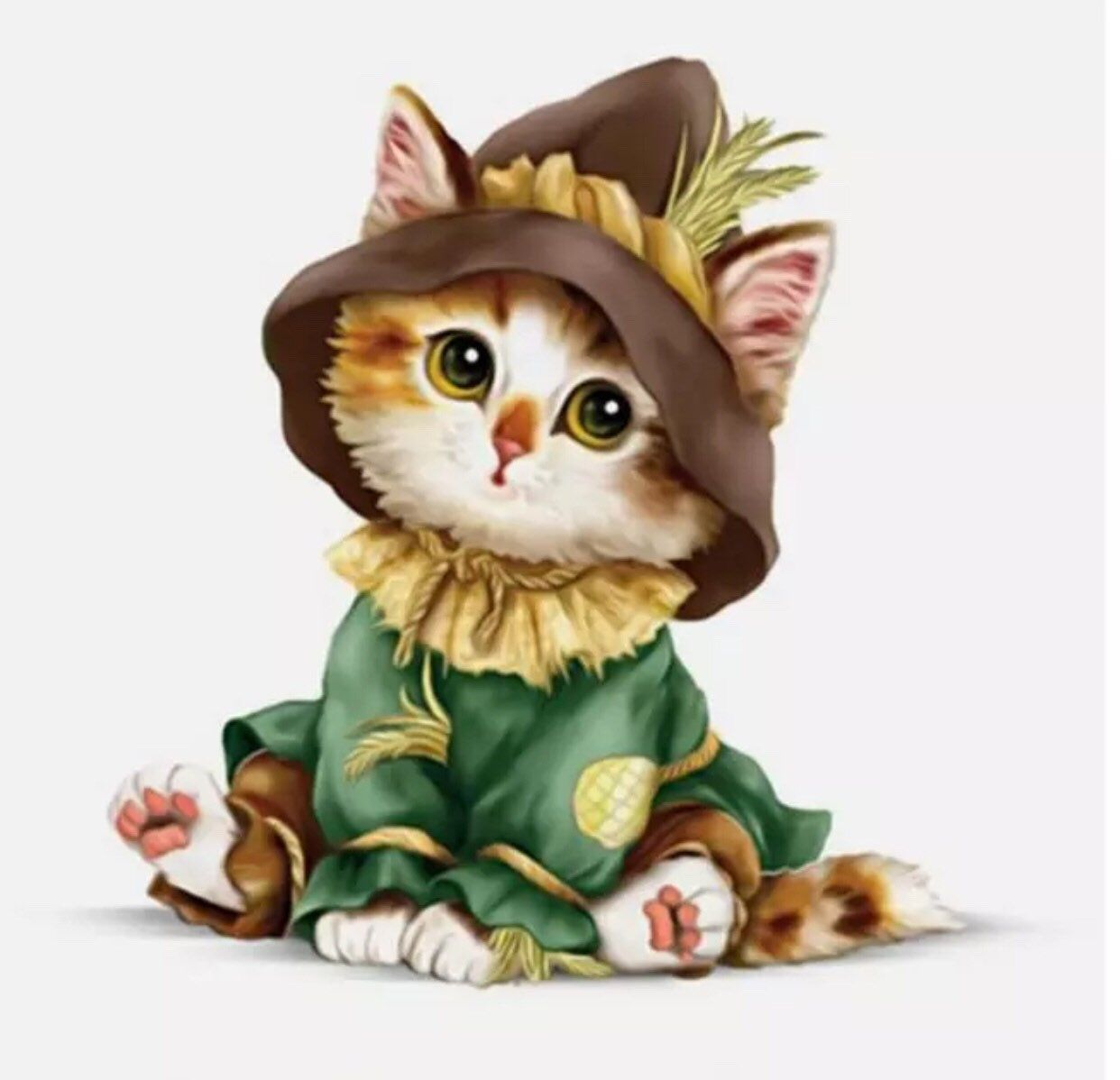 Excited To Share The Latest Addition To My Etsy Shop Scarecrow Dressed Cat Kitty 5d Diamond Kit Painting Round Drills Part Cat Art Cute Animals Animal Art