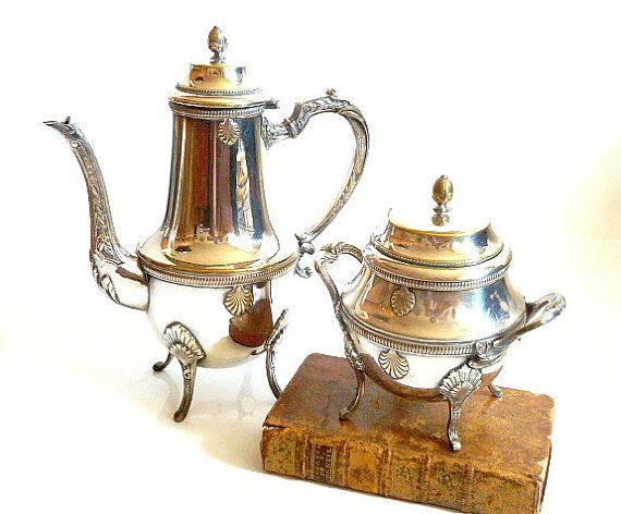 French Elegant  Vintage Silver-plated Tea Set. by CabArtVintage