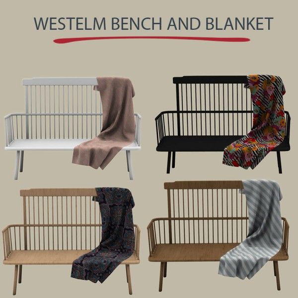 Leo Sims - Westelm Bench And Blanket For The Sims 4