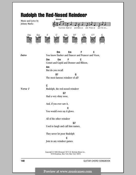 Rudolph The Red Nosed Reindeer By J Marks Guitar Chords And Lyrics Lyrics And Chords Rudolph The Red