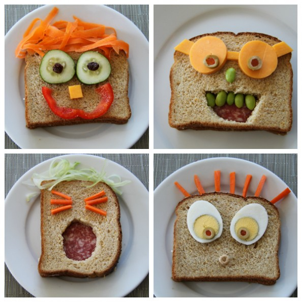 Easy Sandwich Recipes For Kids: Kids Lunches: 4 Easy Sandwich Face Ideas