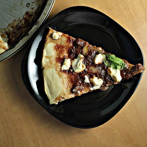 Rhubarb and Chipotle Goat Cheese Pizza Looks like it makes a large pizza. Recipe calls for crust with 3 c. bread flour.