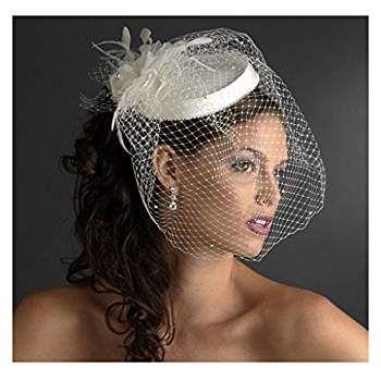 women's vintage short blusher bridal hat birdcage wedding