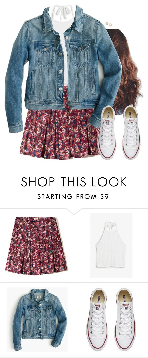 """Floral"" by aweaver-2 on Polyvore featuring Hollister Co., Monki, J.Crew, Converse and Honora"
