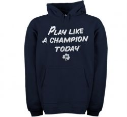Notre Dame Fighting Irish Navy Blue Adidas Sweatshirt  Starting at: $49.95  NOW $24.99  Save: 50% off    PLAY LIKE A CHAMPION TODAY  50% Cotton/50% Polyester  Lightweight pullover hoodie with soft fleece lining