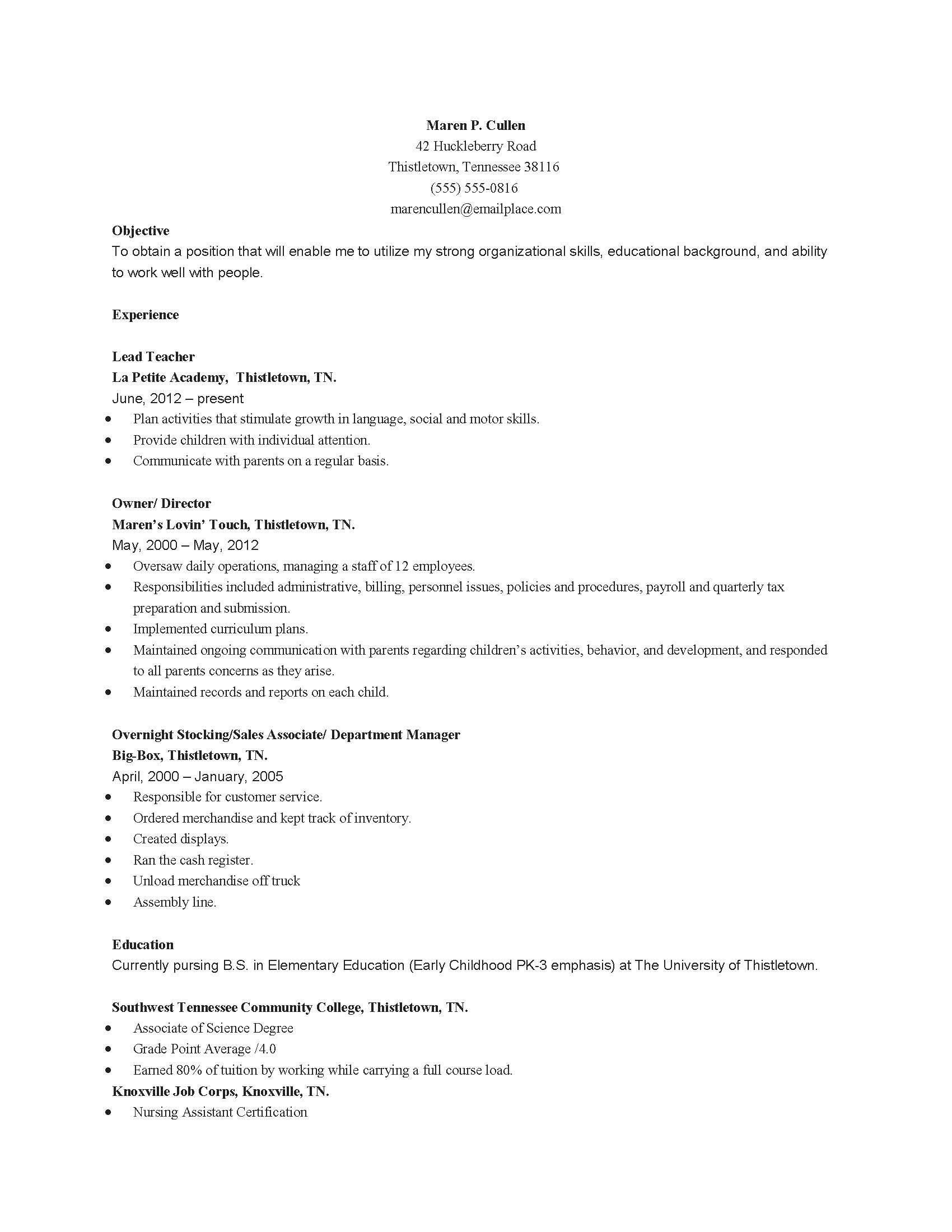 sample early childhood teacher education resume samples resumes